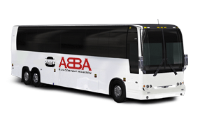 a full-sized charter bus with an abba bus company houston logo