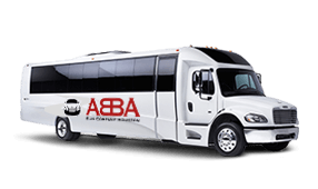 a white minibus with an abba bus company logo